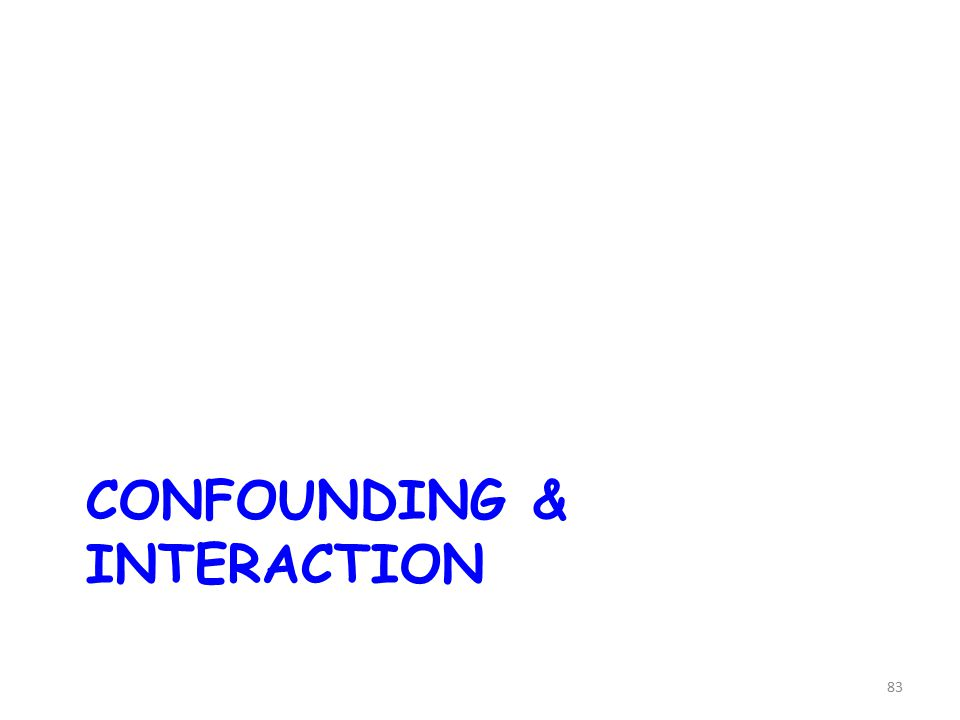 CONFOUNDING & INTERACTION 83
