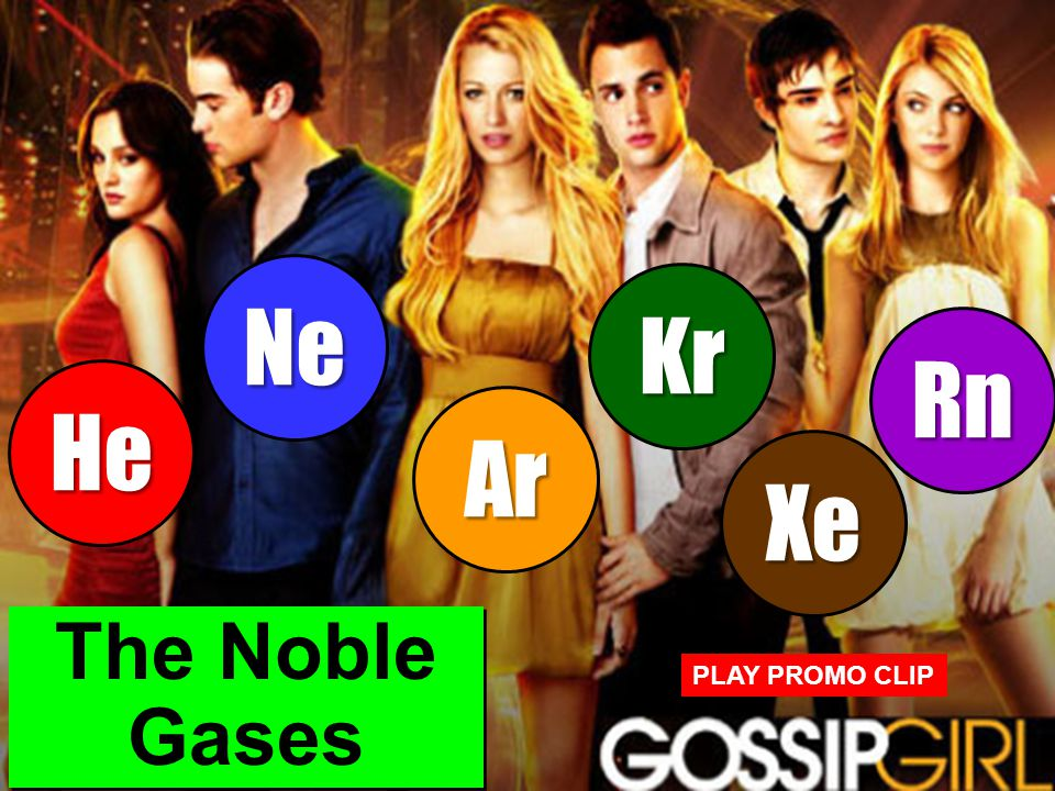 Copyright 2011 CreativeChemistryLessons.comCreativeChemistryLessons.com The Noble Gases He Ne Ar Kr Xe Rn PLAY PROMO CLIP