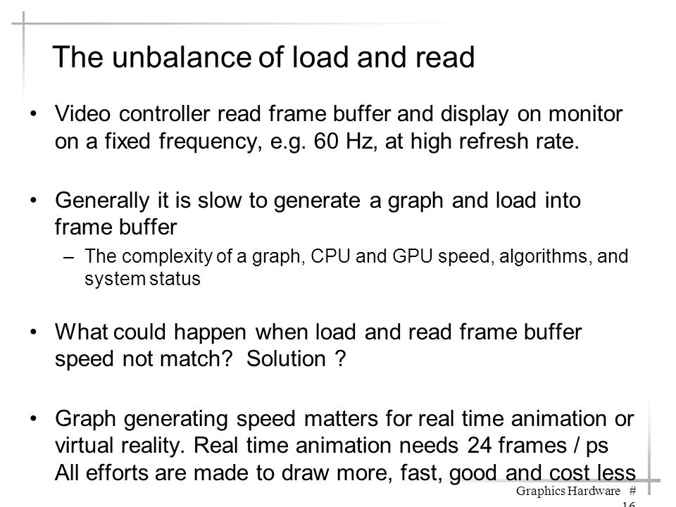 The unbalance of load and read Video controller read frame buffer and display on monitor on a fixed frequency, e.g. 60 Hz, at high refresh rate. Gener