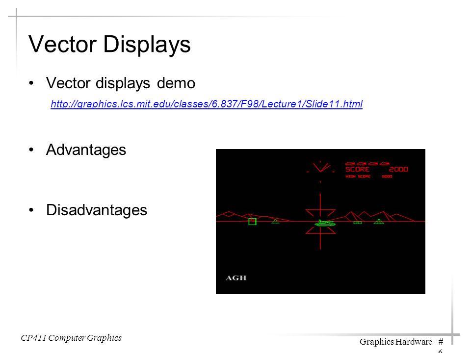 Vector Displays Vector displays demo http://graphics.lcs.mit.edu/classes/6.837/F98/Lecture1/Slide11.html http://graphics.lcs.mit.edu/classes/6.837/F98