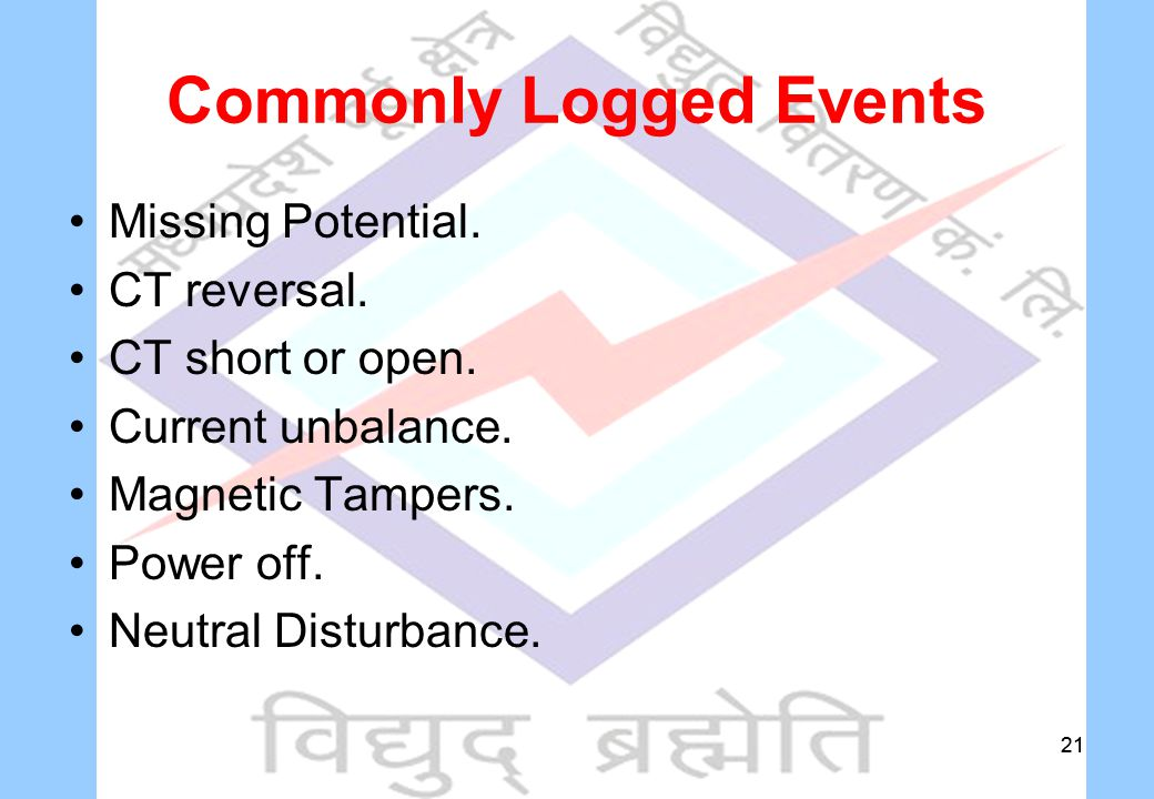 21 Commonly Logged Events Missing Potential. CT reversal.