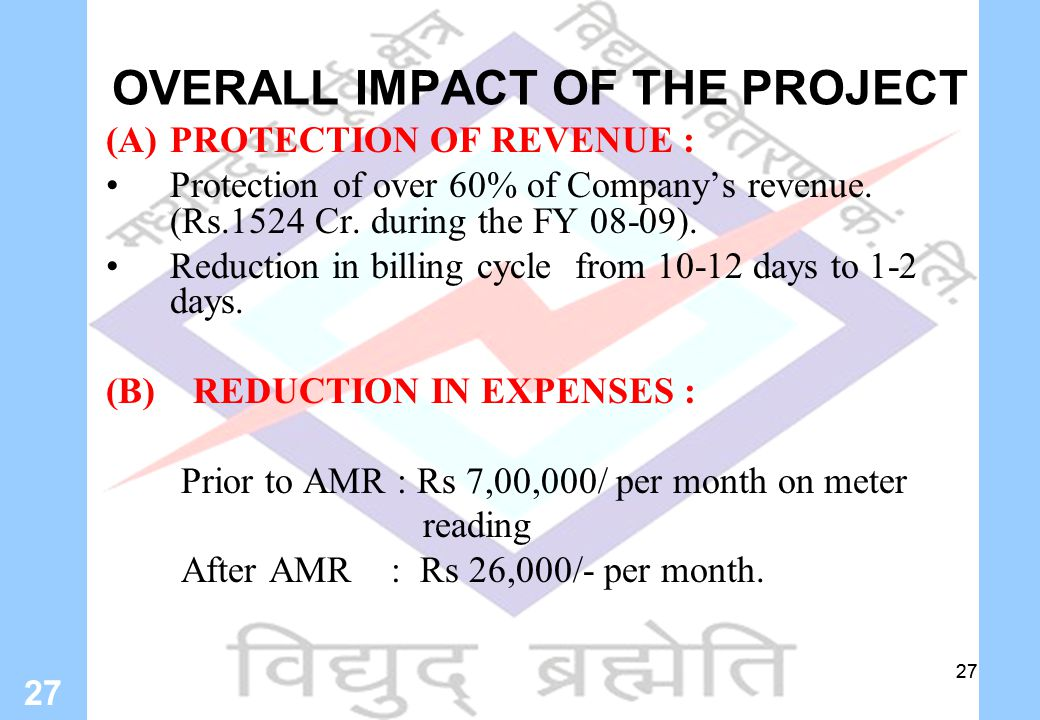 27 OVERALL IMPACT OF THE PROJECT (A)PROTECTION OF REVENUE : Protection of over 60% of Company's revenue.