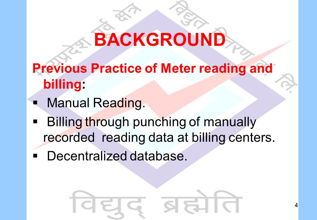 44 BACKGROUND Previous Practice of Meter reading and billing:  Manual Reading.