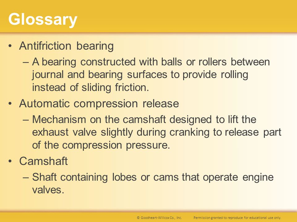 Permission granted to reproduce for educational use only.© Goodheart-Willcox Co., Inc. Glossary Antifriction bearing –A bearing constructed with balls