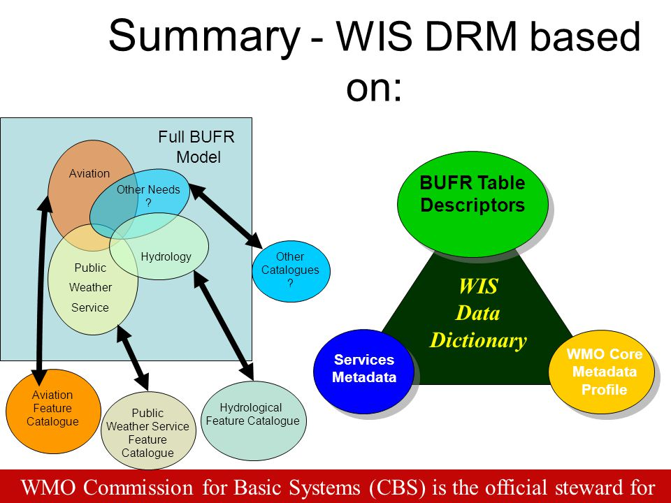 Services Metadata BUFR Table Descriptors WMO Core Metadata Profile Summary - WIS DRM based on: WIS Data Dictionary WMO Commission for Basic Systems (C