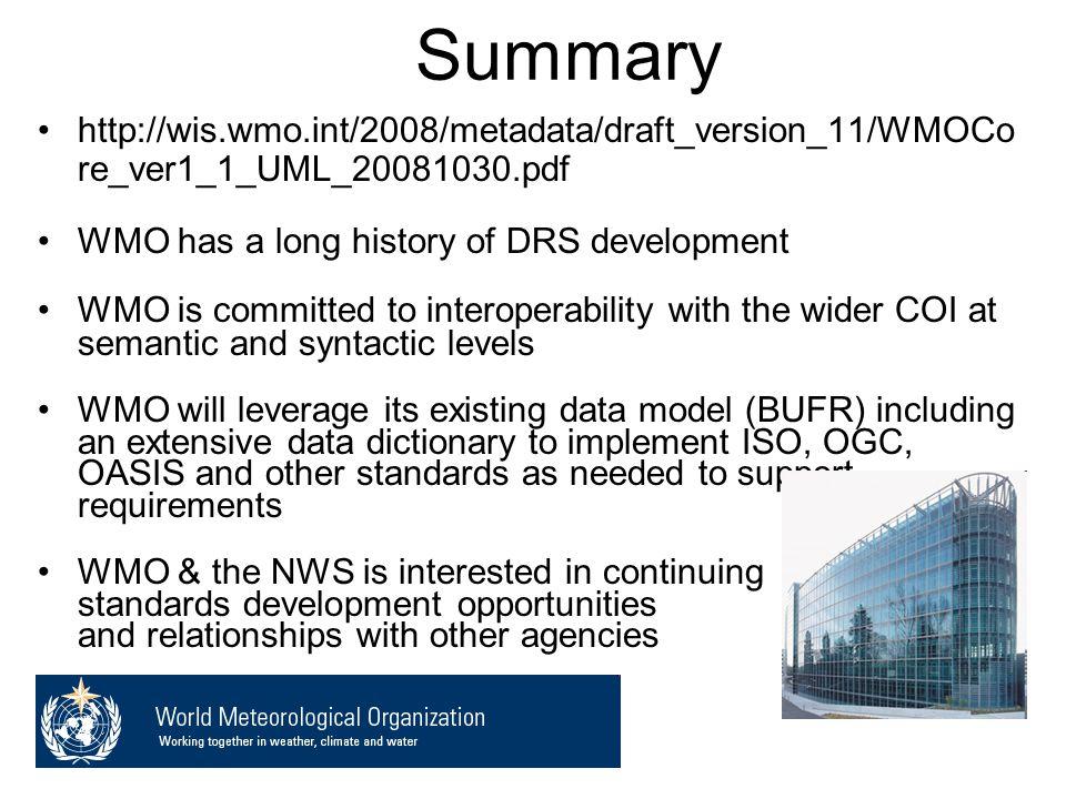 Summary http://wis.wmo.int/2008/metadata/draft_version_11/WMOCo re_ver1_1_UML_20081030.pdf WMO has a long history of DRS development WMO is committed