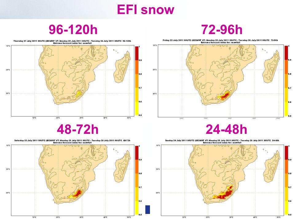 Slide 46 WMO Macao – April 2013 © ECMWF EFI snow 96-120h72-96h 48-72h24-48h