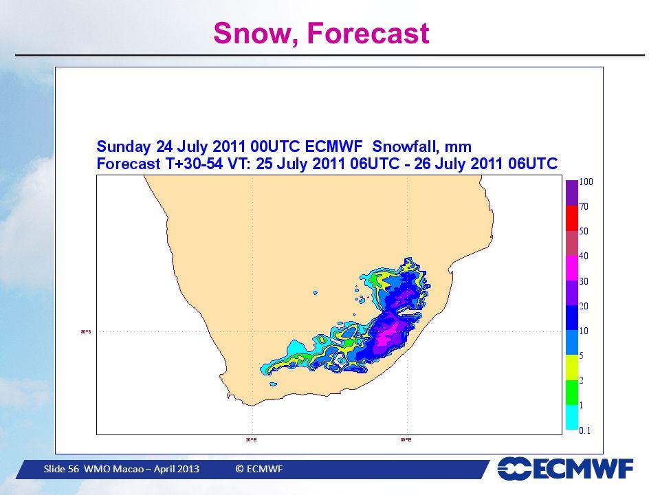 Slide 56 WMO Macao – April 2013 © ECMWF Snow, Forecast