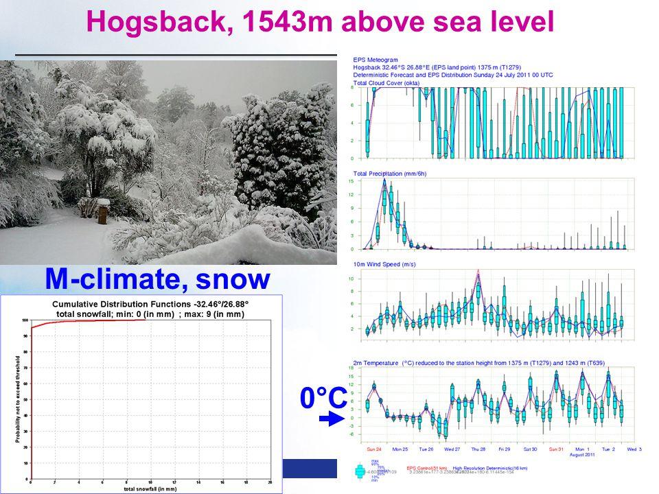 Slide 59 WMO Macao – April 2013 © ECMWF Hogsback, 1543m above sea level 0°C M-climate, snow