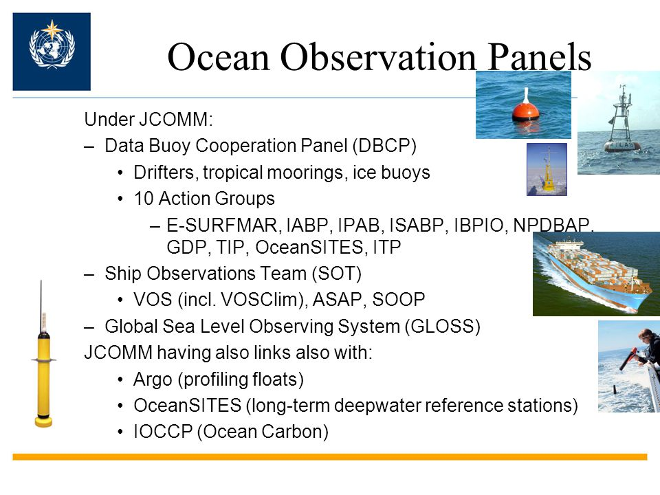 WMO perspective on regarding global ocean observations IOC-WMO-UNEP-ICSU Global Ocean Observing System (GOOS) –Joint WMO-IOC Technical Commission for