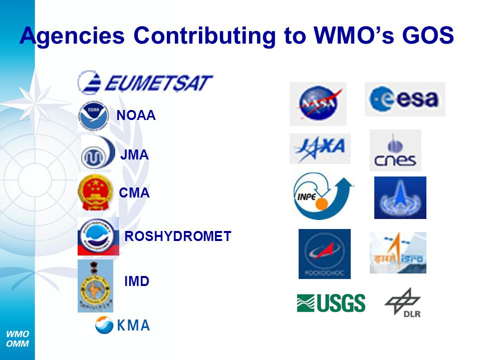 Agencies Contributing to WMO's GOS JMA CMA ROSHYDROMET IMD NOAA