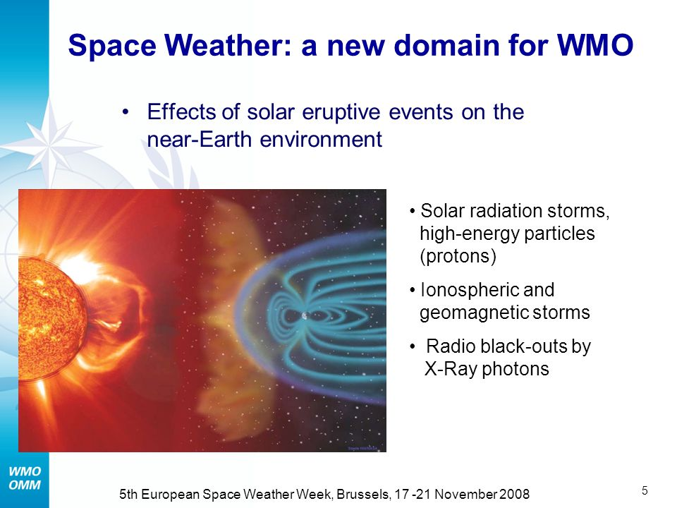 5 5th European Space Weather Week, Brussels, 17 -21 November 2008 Space Weather: a new domain for WMO Effects of solar eruptive events on the near-Earth environment Solar radiation storms, high-energy particles (protons) Ionospheric and geomagnetic storms Radio black-outs by X-Ray photons