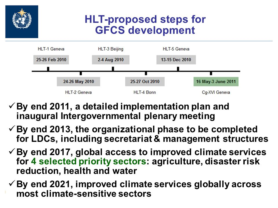HLT-proposed steps for GFCS development By end 2011, a detailed implementation plan and inaugural Intergovernmental plenary meeting By end 2013, the organizational phase to be completed for LDCs, including secretariat & management structures By end 2017, global access to improved climate services for 4 selected priority sectors: agriculture, disaster risk reduction, health and water By end 2021, improved climate services globally across most climate-sensitive sectors