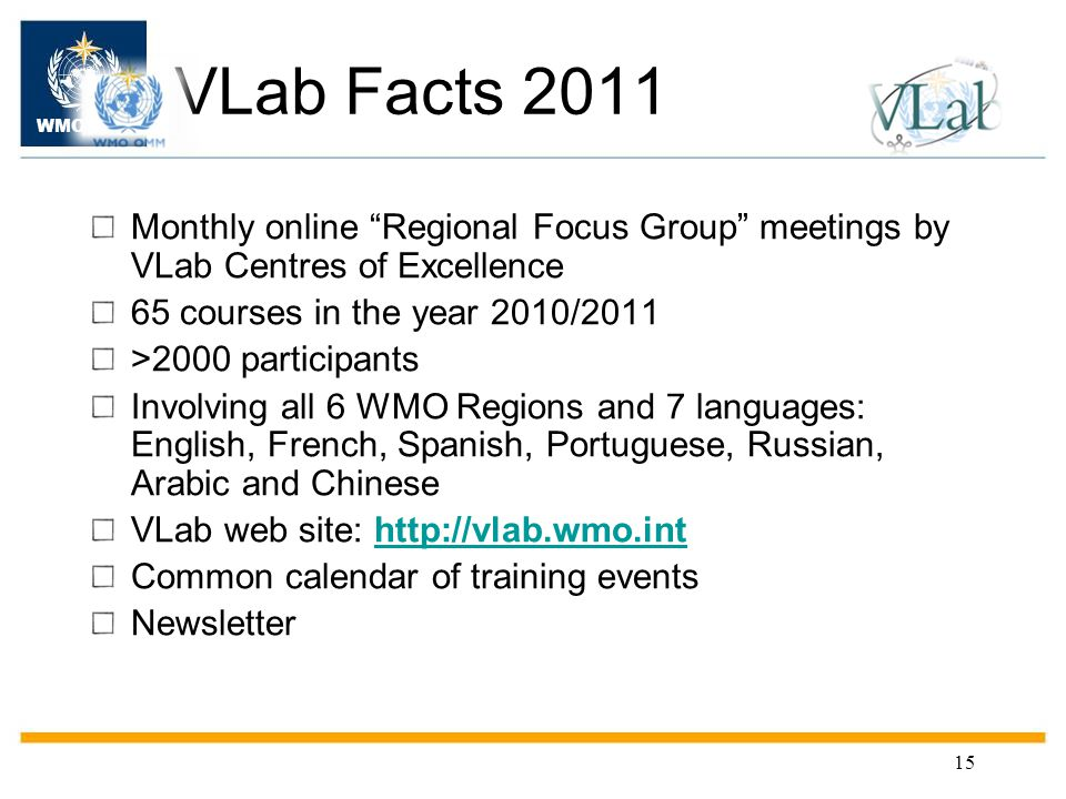 WMO OMM 15 VLab Facts 2011 Monthly online Regional Focus Group meetings by VLab Centres of Excellence 65 courses in the year 2010/2011 >2000 participants Involving all 6 WMO Regions and 7 languages: English, French, Spanish, Portuguese, Russian, Arabic and Chinese VLab web site: http://vlab.wmo.inthttp://vlab.wmo.int Common calendar of training events Newsletter