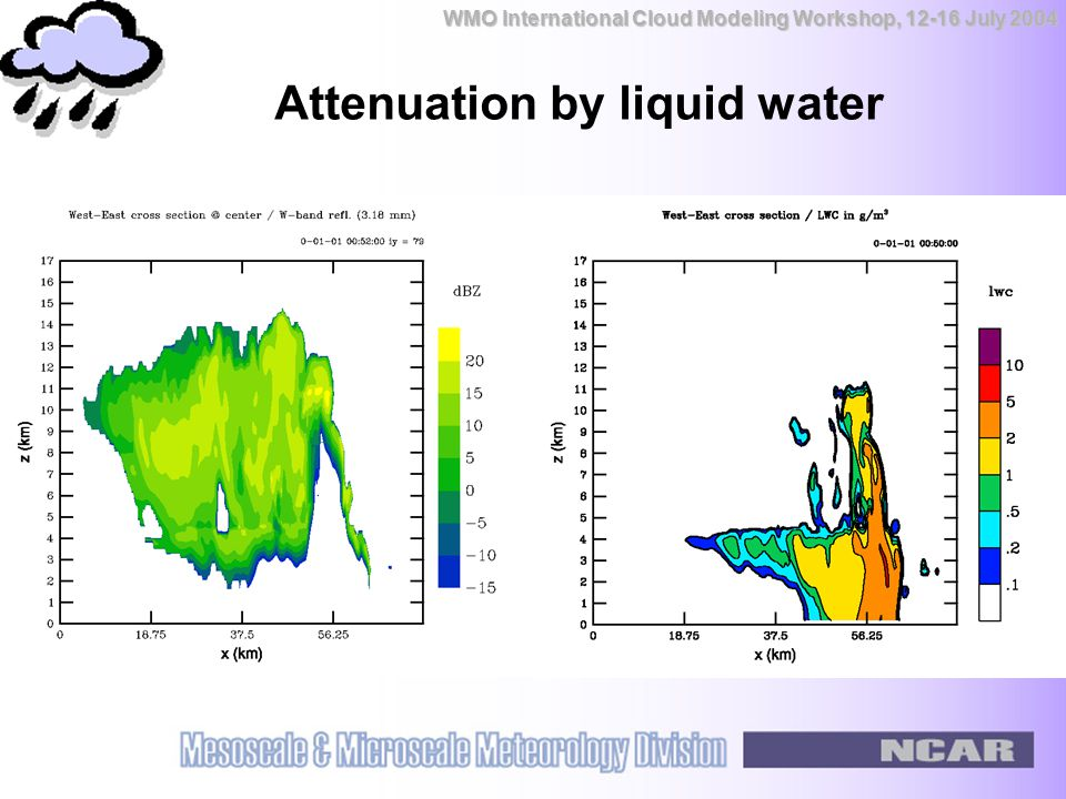WMO International Cloud Modeling Workshop, 12-16 July 2004 Attenuation by liquid water