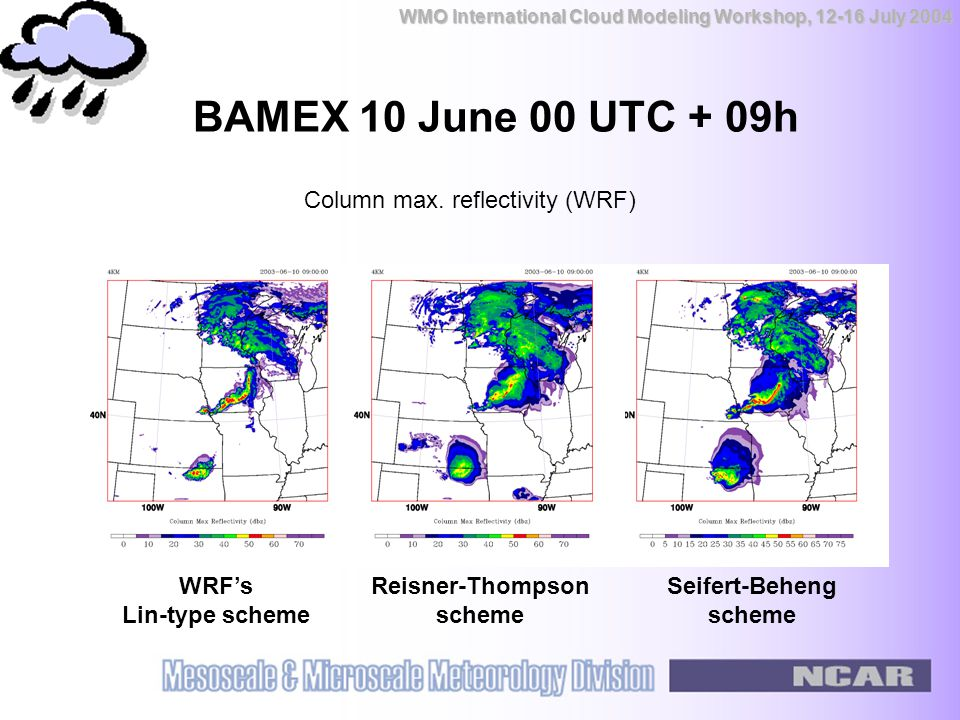 WMO International Cloud Modeling Workshop, 12-16 July 2004 BAMEX 10 June 00 UTC + 09h WRF's Lin-type scheme Reisner-Thompson scheme Seifert-Beheng scheme Column max.