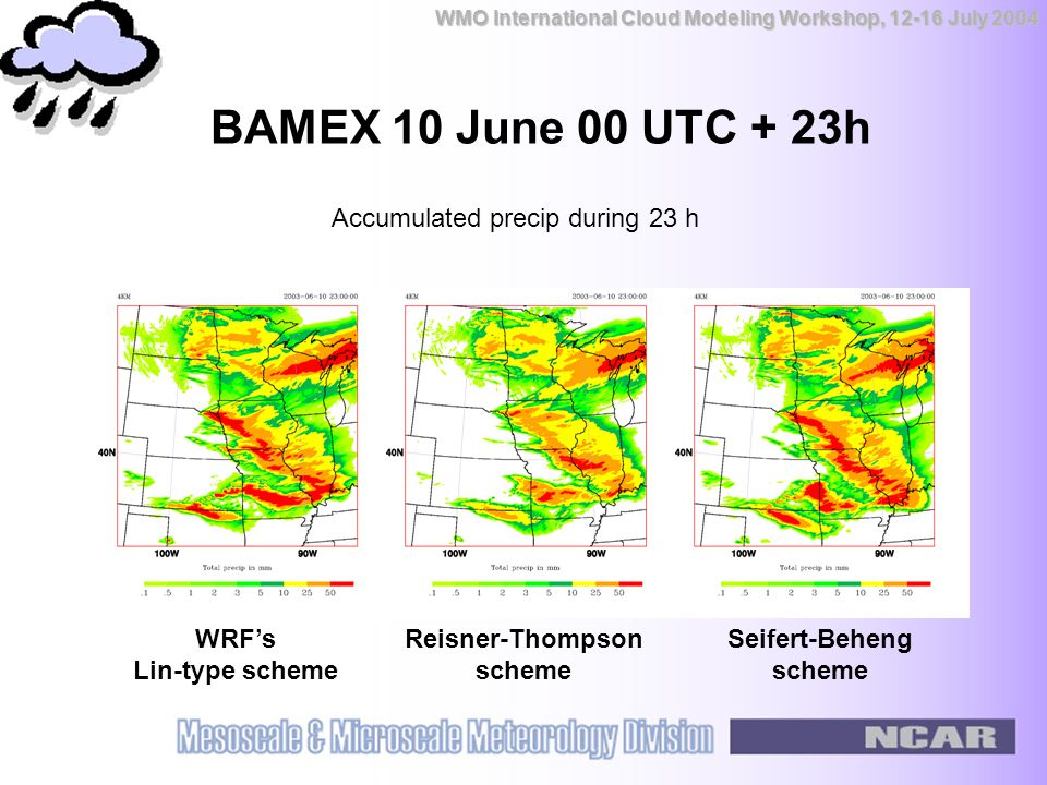 WMO International Cloud Modeling Workshop, 12-16 July 2004 BAMEX 10 June 00 UTC + 23h WRF's Lin-type scheme Reisner-Thompson scheme Seifert-Beheng scheme Accumulated precip during 23 h