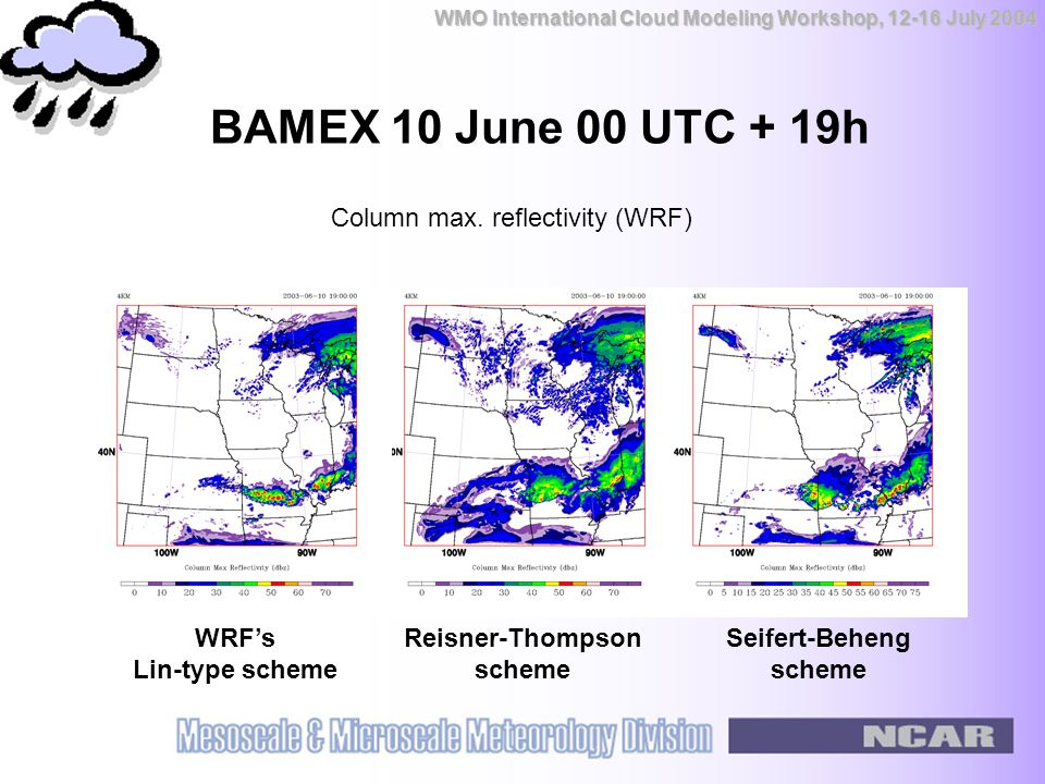 WMO International Cloud Modeling Workshop, 12-16 July 2004 BAMEX 10 June 00 UTC + 19h WRF's Lin-type scheme Reisner-Thompson scheme Seifert-Beheng scheme Column max.