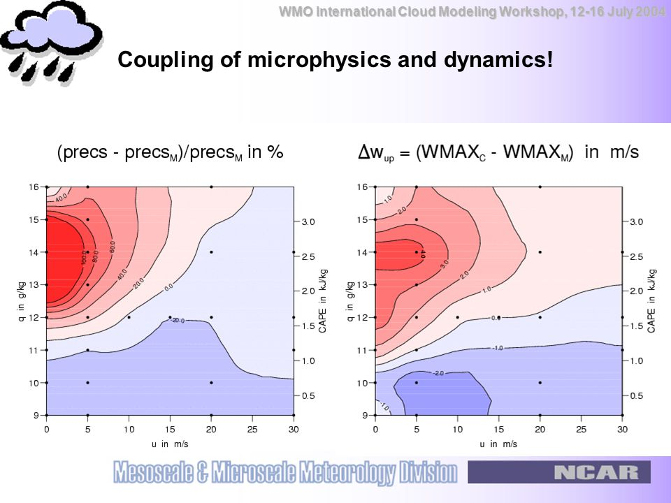 WMO International Cloud Modeling Workshop, 12-16 July 2004 Coupling of microphysics and dynamics!