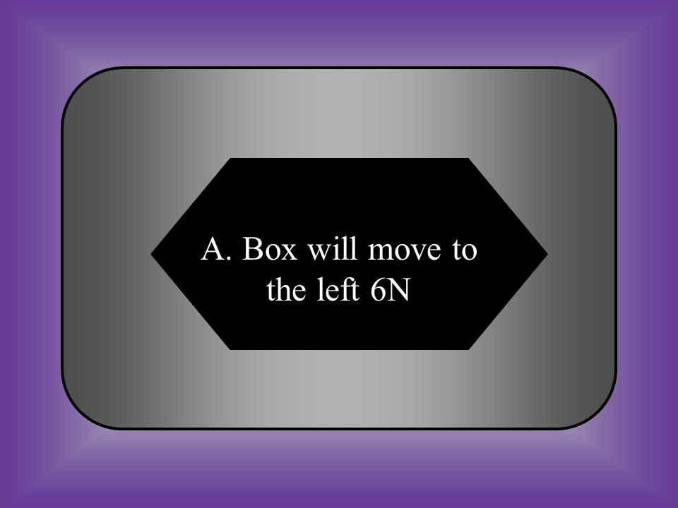 A:B: Box will move to the left 6N Box will move to the right 6 N C:D: The force is balanced None of these #17 Calculating net force.