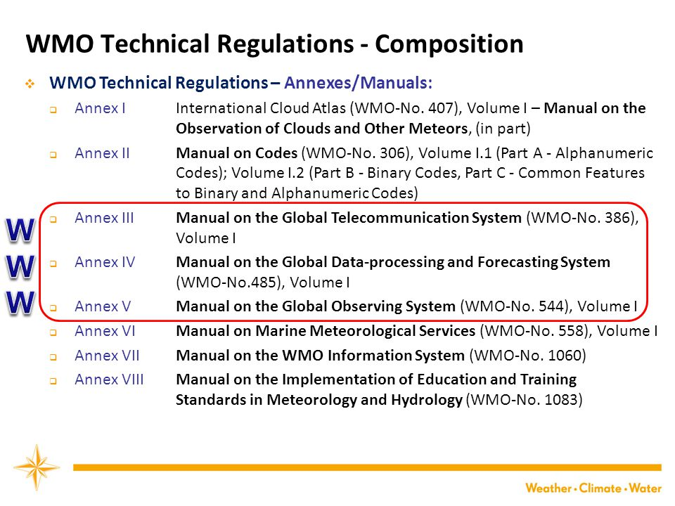 WMO Technical Regulations - Composition  WMO Technical Regulations – Annexes/Manuals:  Annex I International Cloud Atlas (WMO-No.