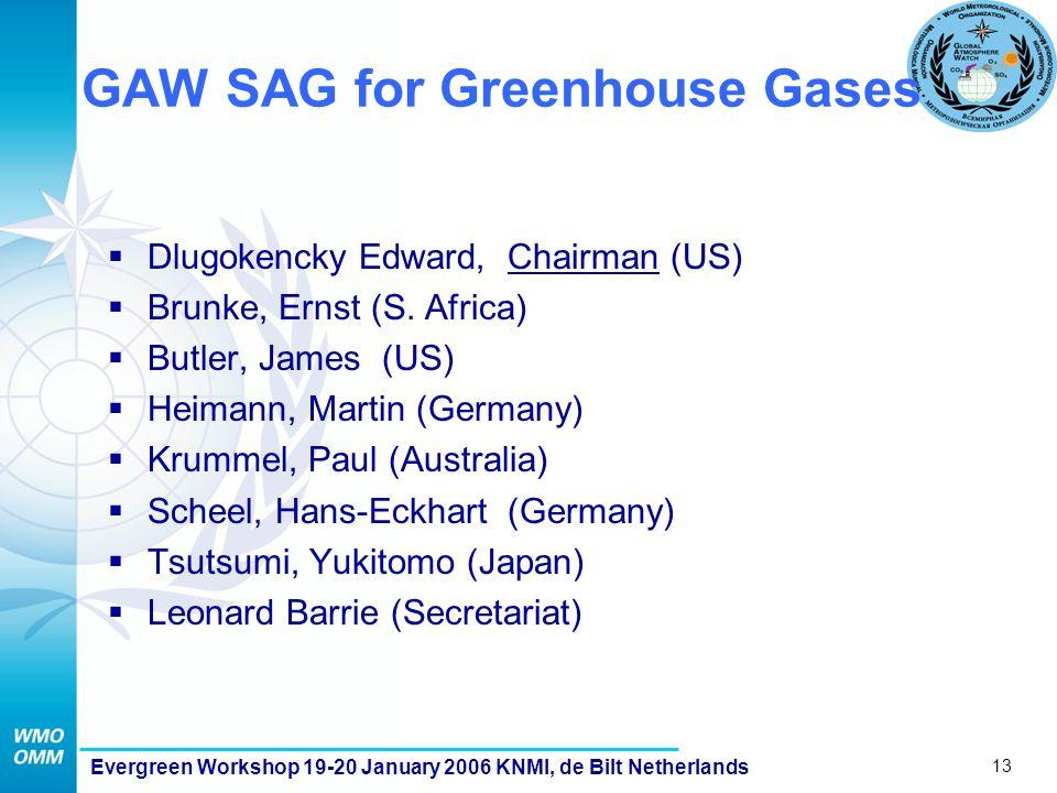 13 Evergreen Workshop 19-20 January 2006 KNMI, de Bilt Netherlands GAW SAG for Greenhouse Gases  Dlugokencky Edward, Chairman (US)  Brunke, Ernst (S.