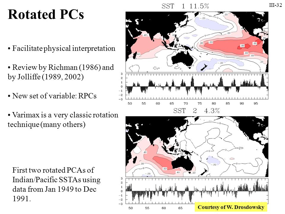 III-32 First two rotated PCAs of Indian/Pacific SSTAs using data from Jan 1949 to Dec 1991.