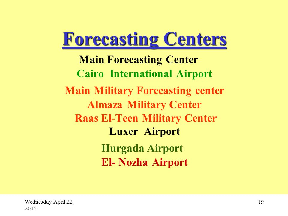 Wednesday, April 22, 2015 19 Forecasting Centers Forecasting Centers Main Forecasting Center Cairo International Airport Main Military Forecasting center Almaza Military Center Raas El-Teen Military Center Luxer Airport Hurgada Airport El- Nozha Airport