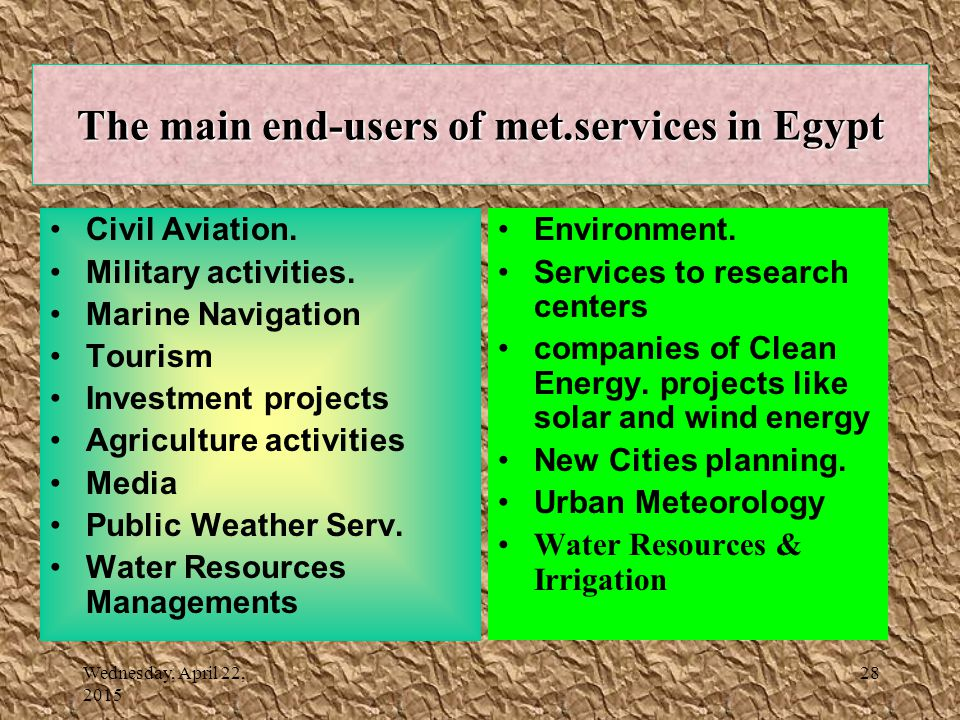 Wednesday, April 22, 2015 28 The main end-users of met.services in Egypt Civil Aviation.