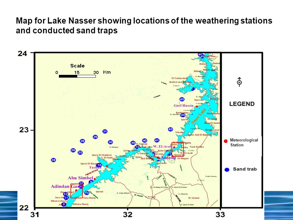 Meteorological Station Map for Lake Nasser showing locations of the weathering stations and conducted sand traps