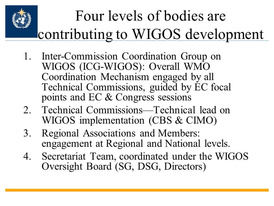 WMO ICG-WIGOS & Task Teams ICG-WIGOS &Task Teams: –TT-WIGOS Implementation Plan (March 2012), –TT-WIGOS Regulatory Material (Nov 2012; June & Nov 2013) –TT-WIGOS Metadata (WMD) (March 12-15, 2013) ICG-WIGOS-2 (March 18-22, 2013): –Updated WIP, and made new decisions to establish Task Team on Quality Management –Reviewed Regional WIGOS Implementation Plans and progress