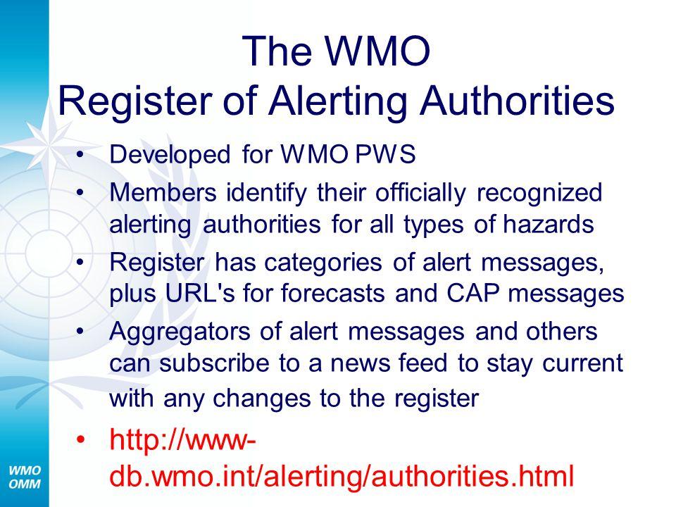 Register of Alerting Authorities