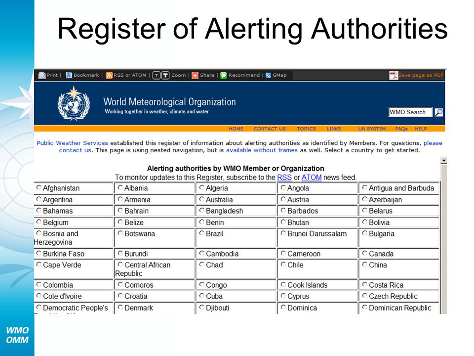Register of Alerting Authorities