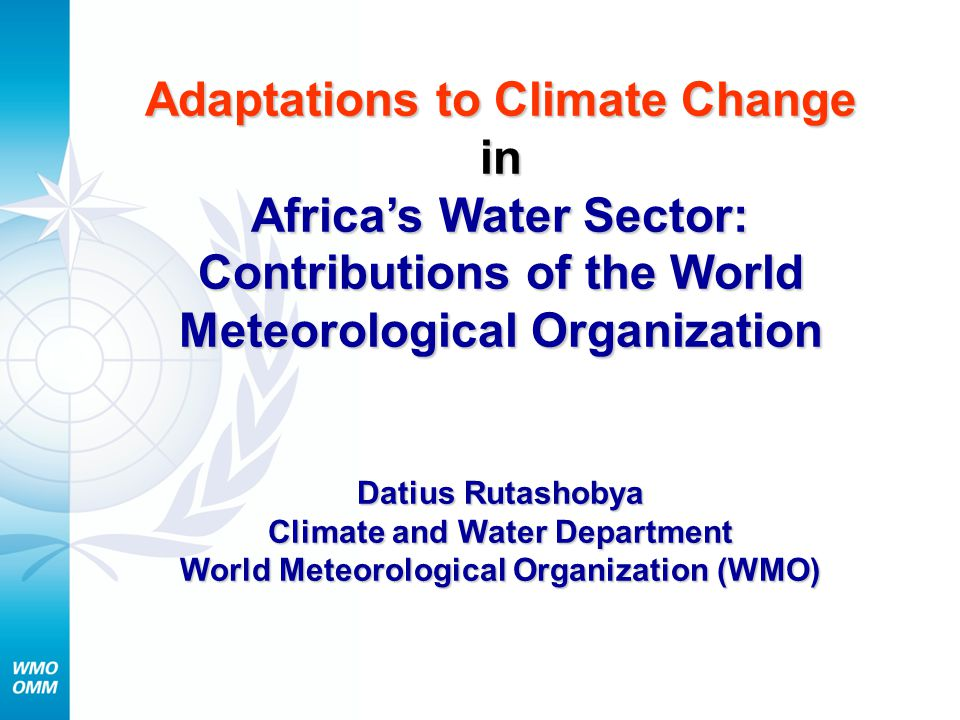 Impacts of climate change on water resources in Africa reduced freshwater availability, food security, human health, industrial production, increased hazards and risks (floods, droughts) Specific observed impacts: Shrinking of Lake Chad, Lake Turkana fluctuation of water levels of Lake Victoria melting snow of Mount Kilimanjaro