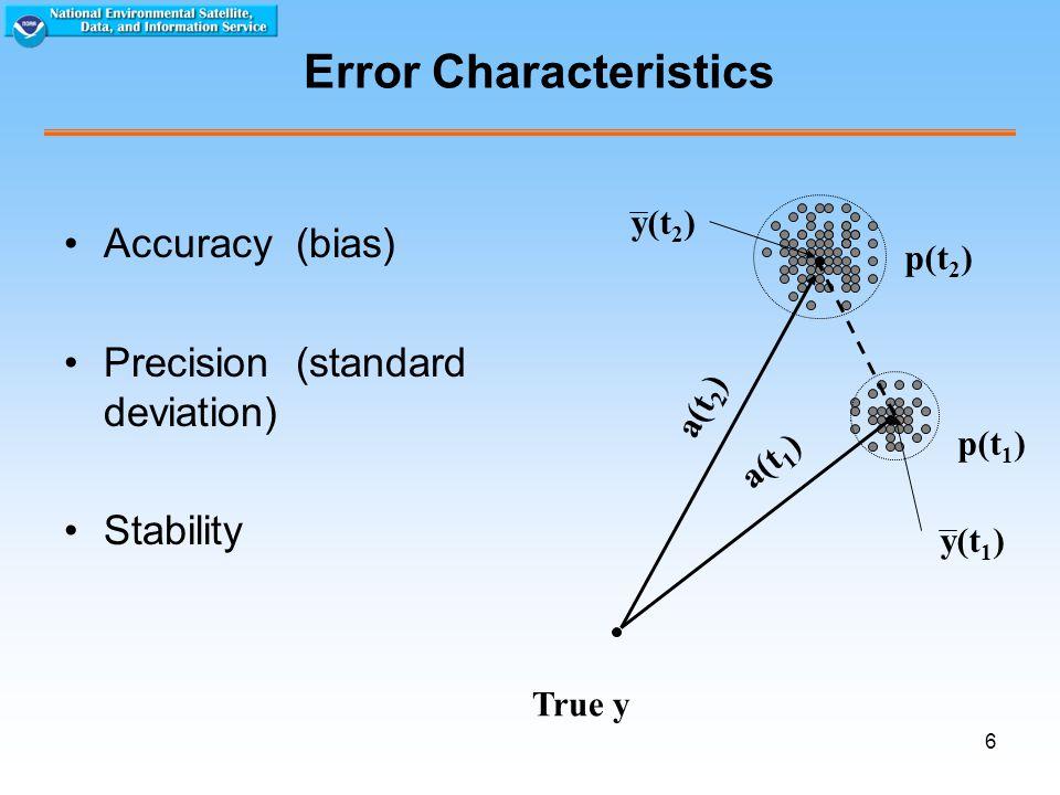 6 Error Characteristics Accuracy (bias) Precision (standard deviation) Stability