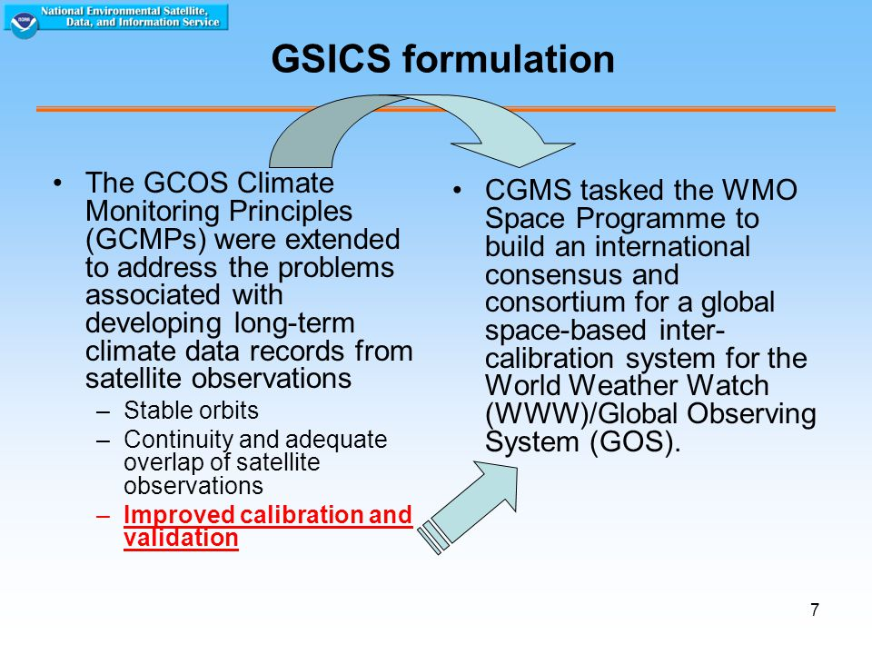 7 GSICS formulation The GCOS Climate Monitoring Principles (GCMPs) were extended to address the problems associated with developing long-term climate data records from satellite observations –Stable orbits –Continuity and adequate overlap of satellite observations –Improved calibration and validation CGMS tasked the WMO Space Programme to build an international consensus and consortium for a global space-based inter- calibration system for the World Weather Watch (WWW)/Global Observing System (GOS).