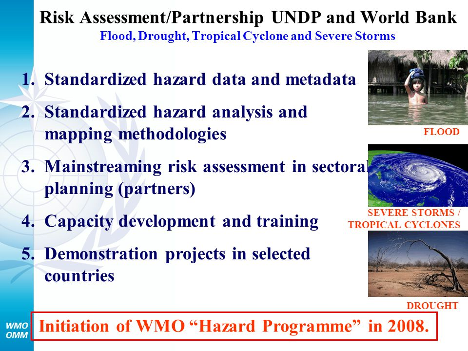 Risk Assessment/Partnership UNDP and World Bank Flood, Drought, Tropical Cyclone and Severe Storms DROUGHT FLOOD 1.Standardized hazard data and metada