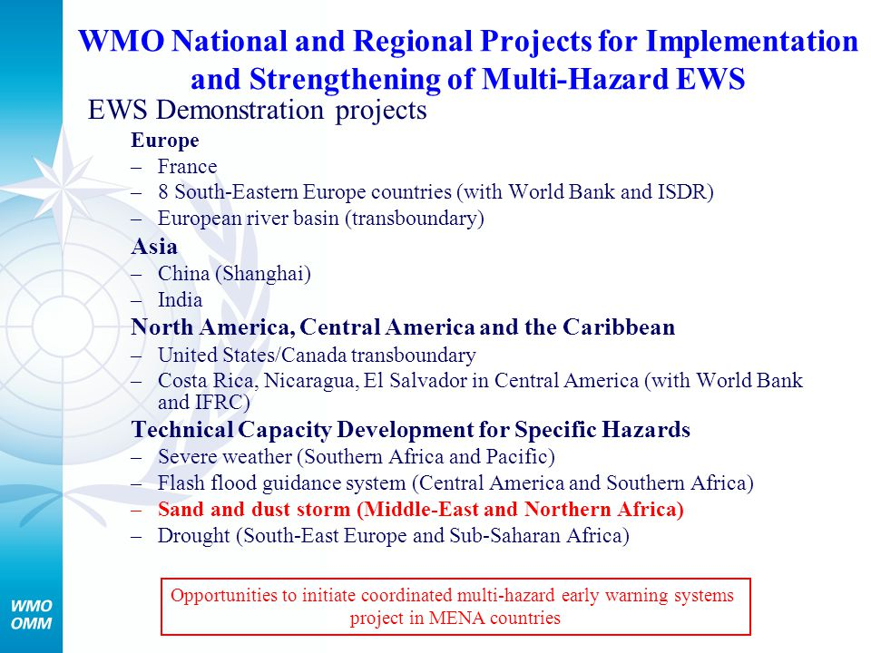 WMO National and Regional Projects for Implementation and Strengthening of Multi-Hazard EWS EWS Demonstration projects Europe –France –8 South-Eastern