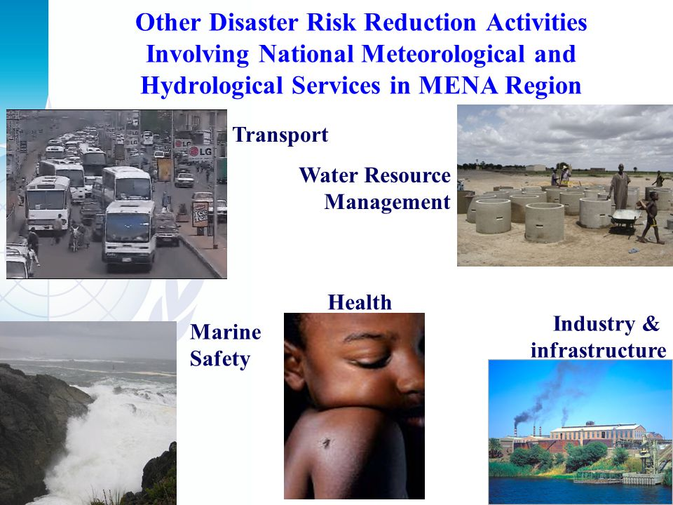 Other Disaster Risk Reduction Activities Involving National Meteorological and Hydrological Services in MENA Region Transport Water Resource Managemen