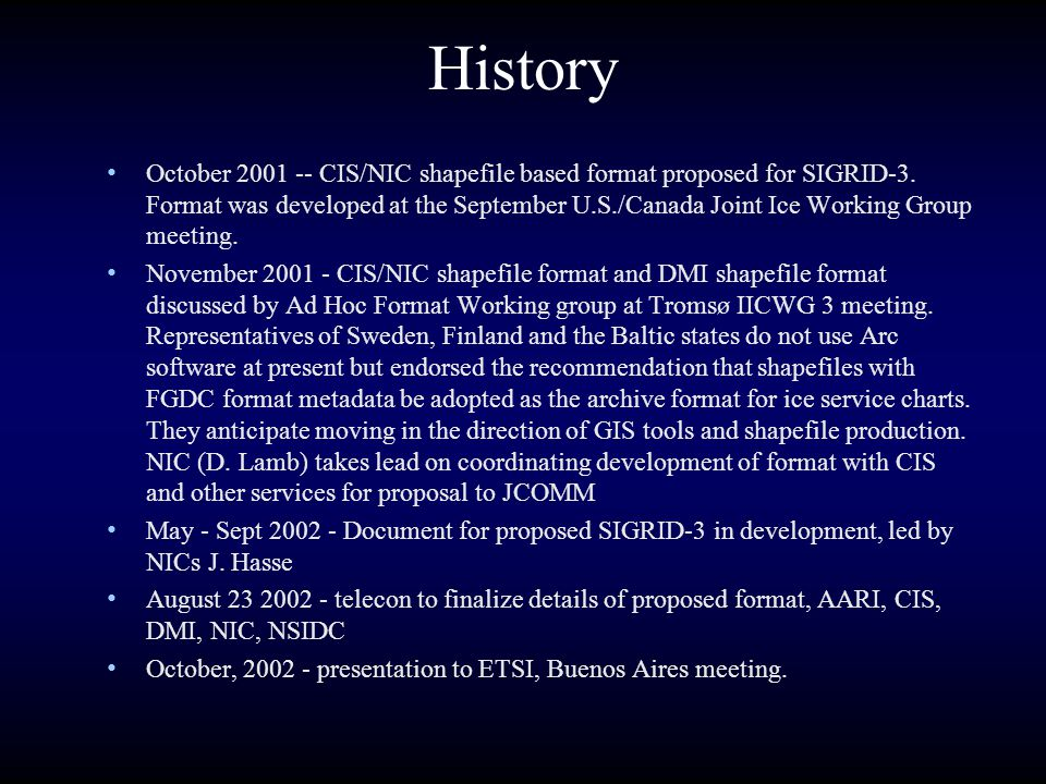 History October 2001 -- CIS/NIC shapefile based format proposed for SIGRID-3. Format was developed at the September U.S./Canada Joint Ice Working Grou