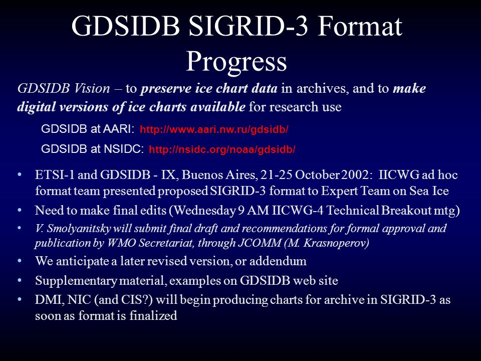 Some Characteristics of SIGRID-3 Based on ESRI shapefile format Each chart will have at least 4 files -.shp (polygon shapes),.dbf (attributes),.shx (index) and.met (metadata) File naming convention will include identifiers for issuing country/organization, geographic region and date Recommended projection will be polar stereographic true at 60N with central meridian at 180 using the WGS84 spheroid Ice attributes will follow existing WMO SIGRID codes and field names Metadata will follow the FGDC metadata standard, and be in XML if possible.