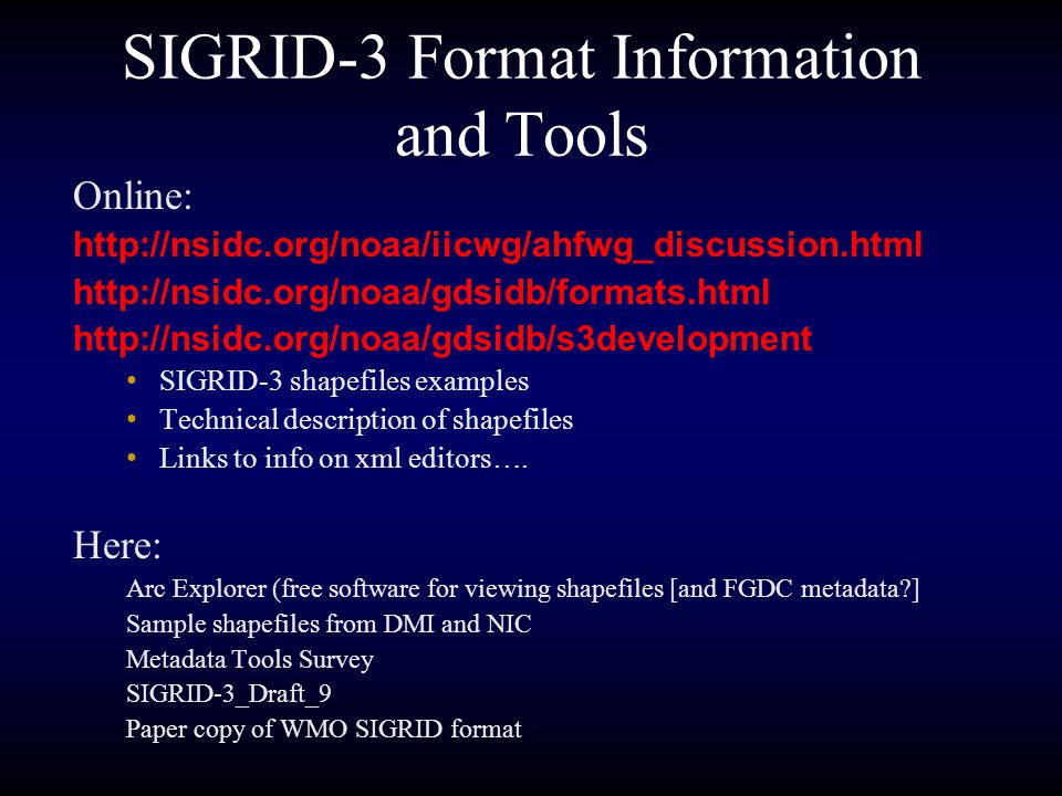 History June 2000 -- NIC and NSIDC proof of concept project to convert ESRI ArcInfo export format E00 files to gridded format completed July 2000 -- ESRI Shapefiles export format suggested as an alternative output format.