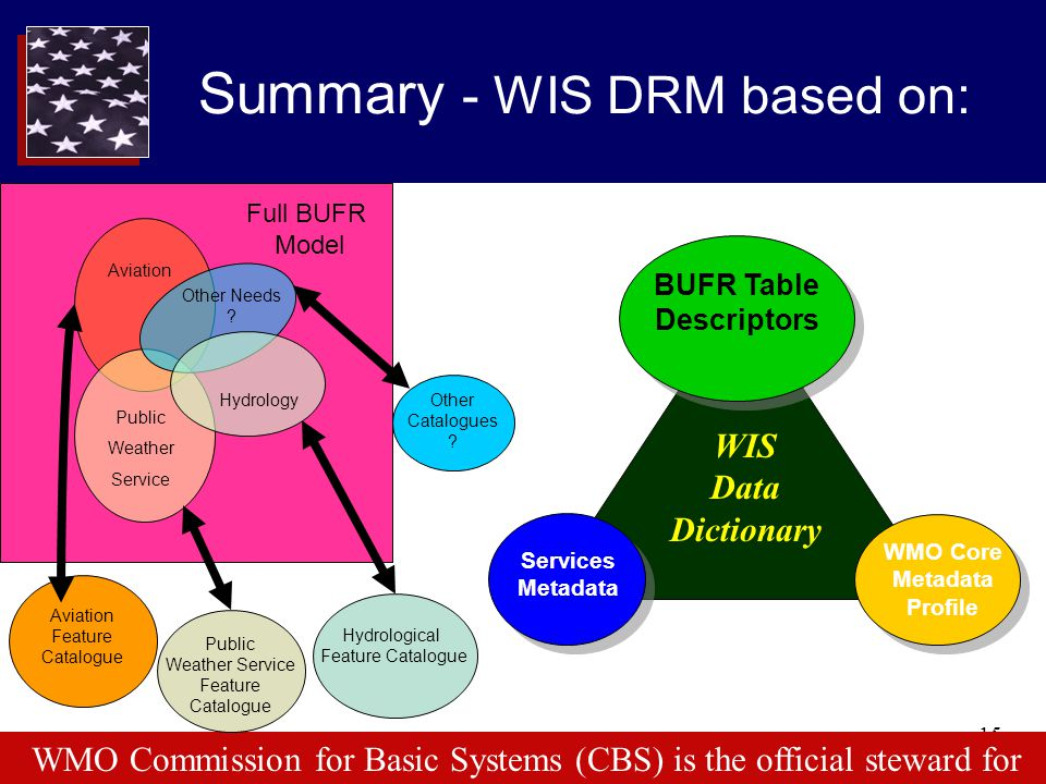 15 Services Metadata BUFR Table Descriptors WMO Core Metadata Profile Summary - WIS DRM based on: WIS Data Dictionary WMO Commission for Basic Systems
