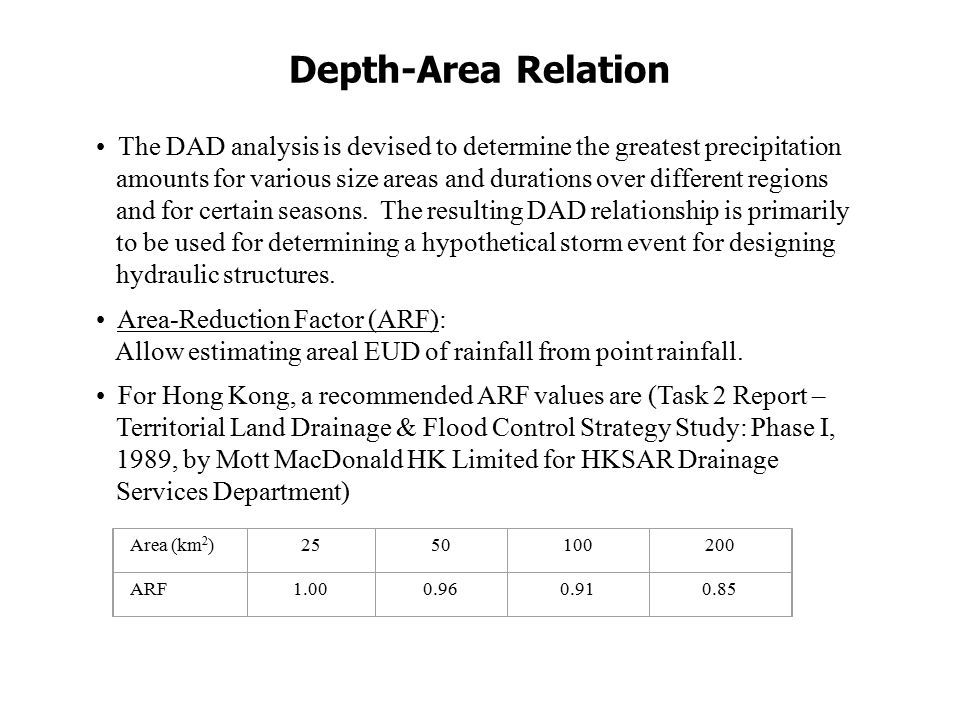 Depth-Area Relation Area (km 2 )2550100200 ARF1.000.960.910.85 The DAD analysis is devised to determine the greatest precipitation amounts for various size areas and durations over different regions and for certain seasons.