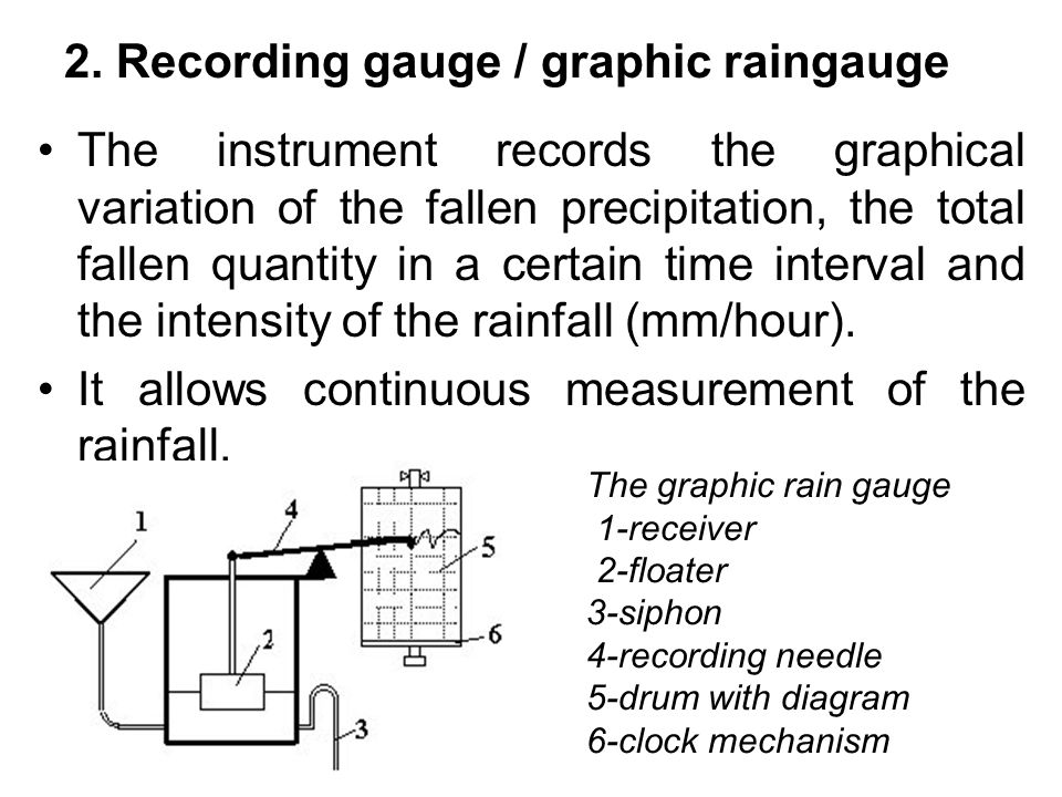 2. Recording gauge / graphic raingauge The instrument records the graphical variation of the fallen precipitation, the total fallen quantity in a cert