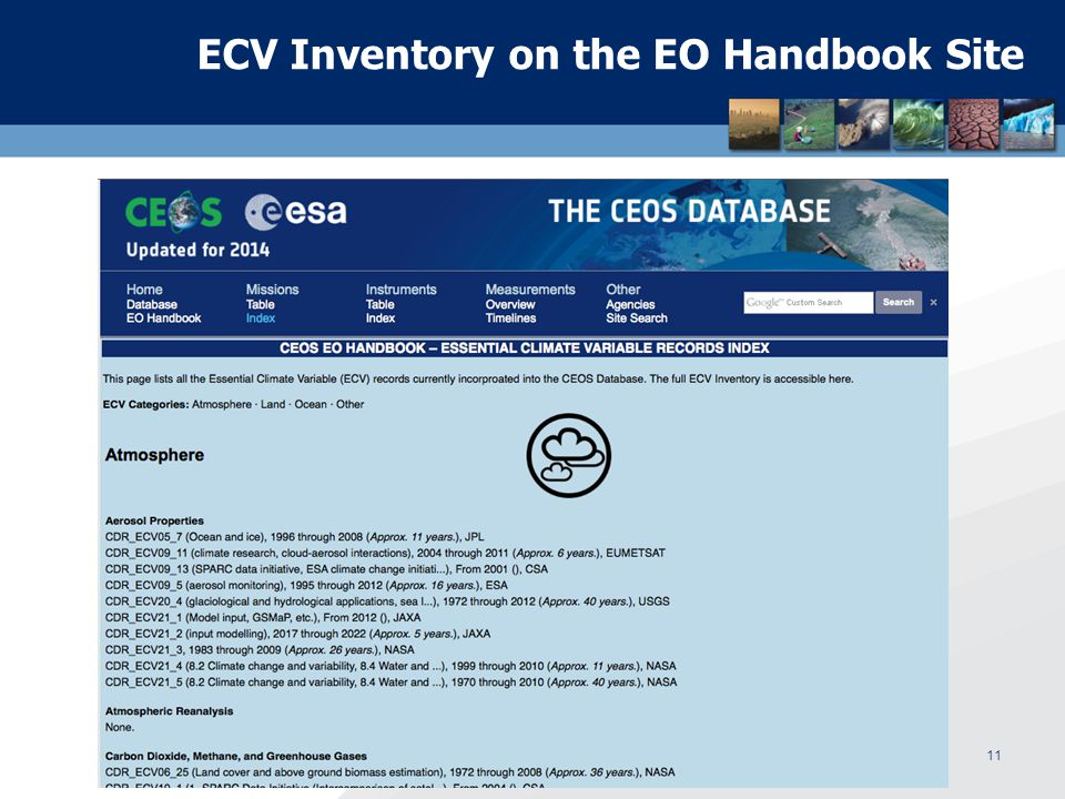 ECV Inventory on the EO Handbook Site WGClimate Meeting, Darmstadt, March 4 – 7, 201411