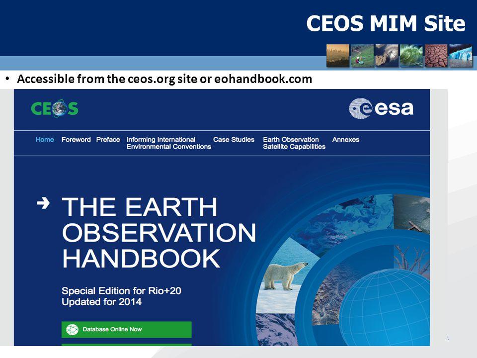 CEOS EO Handbook Main Page WGClimate Meeting, Geneva, February 20134 http://database.eohandbook.com/