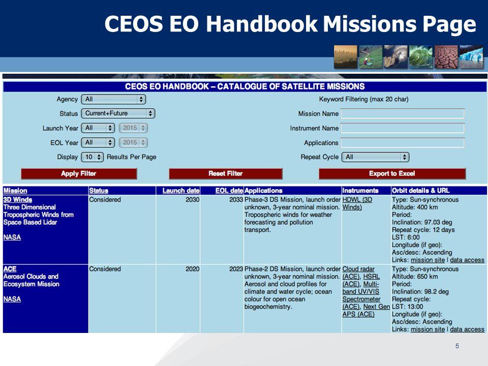 CEOS EO Handbook Missions Page 5