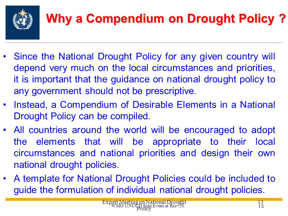 Expert Meeting on National Drought Policy 12 Goals of National Drought Policy (2) Recognition of a safety net of emergency relief based on sound stewardship of natural resources and self-help at diverse governance levels.