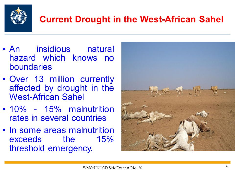 Current Drought in the West-African Sahel An insidious natural hazard which knows no boundaries Over 13 million currently affected by drought in the West-African Sahel 10% - 15% malnutrition rates in several countries In some areas malnutrition exceeds the 15% threshold emergency.